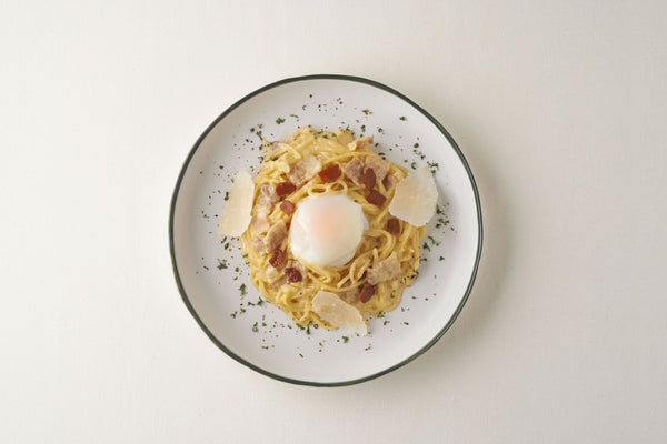 Homemade Carbonara Spaghetti With Onsen Egg