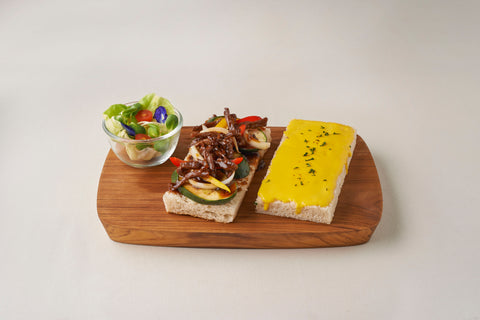 Open-faced Sandwich with Stir Fried Dried Beef