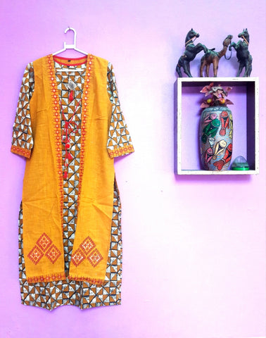 1A. HANDLOOM FULL-LENTH KURTI-GOWN WITH JACKET 05