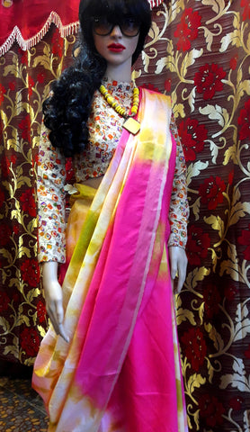 11A. A-Printed semi-pure Tussar saree 07