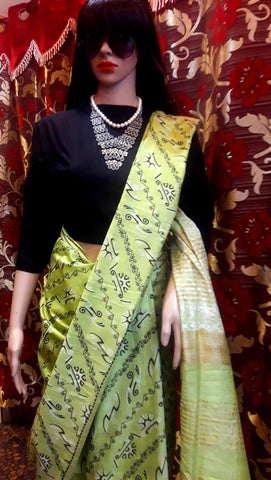 11A. A-Printed semi-pure Tussar saree 08
