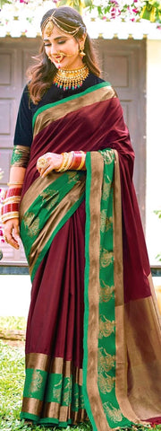 11A. A-Raw Silk Saree AR Afrah Current Maroon