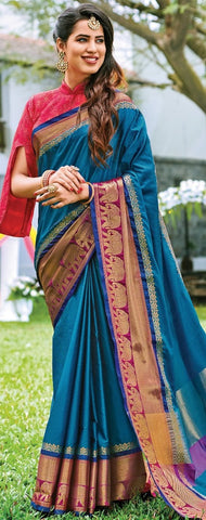 11A. A-Raw Silk Saree AR Joshna Peacock Blue