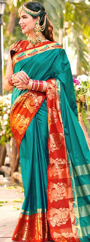 11A. A-Raw Silk Saree AR Saleha Tender Green