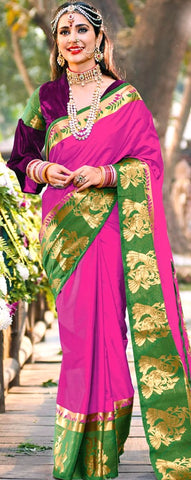11A. A-Raw Silk Saree AR Saleha Jazzy Pink