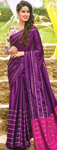 11A. A-Raw Silk Saree AR Sampada Wine Magenta