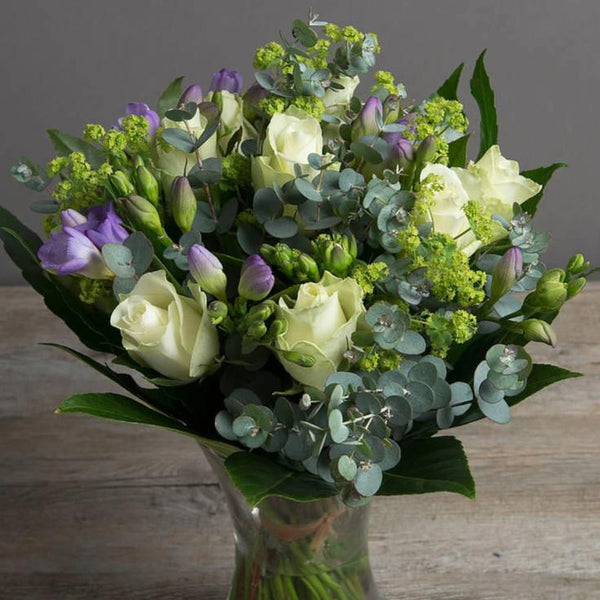 Bea - White Rose, Lime and Lilac Bouquet