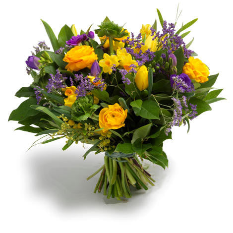 Alex - Yellow and Blue Bouquet Seasonal Flowers from £39.95