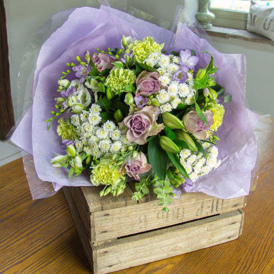 Lime and Lilac Roses Vintage Style Bouquet