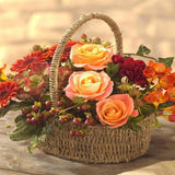 Mandarin Golds, Orange and Red Basket of Flowers.