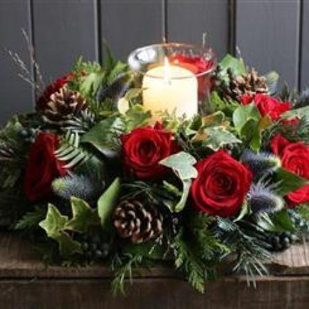 Vixen - Luxury Red Rose Christmas Table Arrangement with Candle.