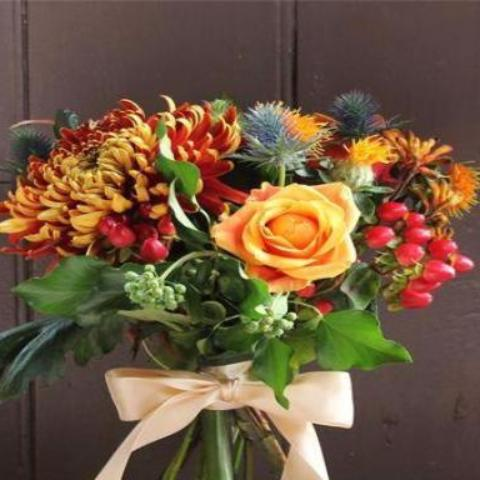 Elise - Orange Rose & Berries Bouquet.