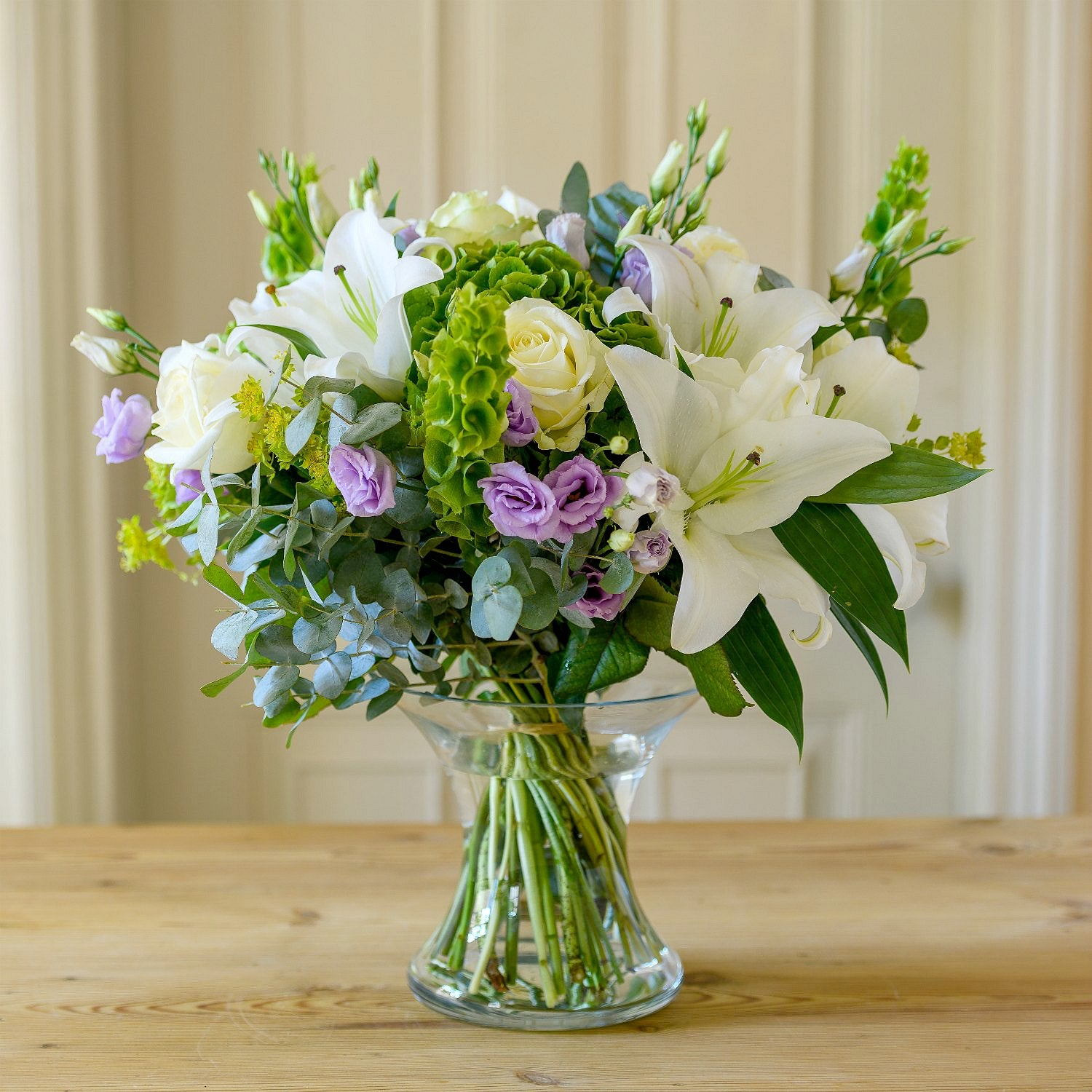 Longstock - Elegant White Lily and Lime Bouquet.