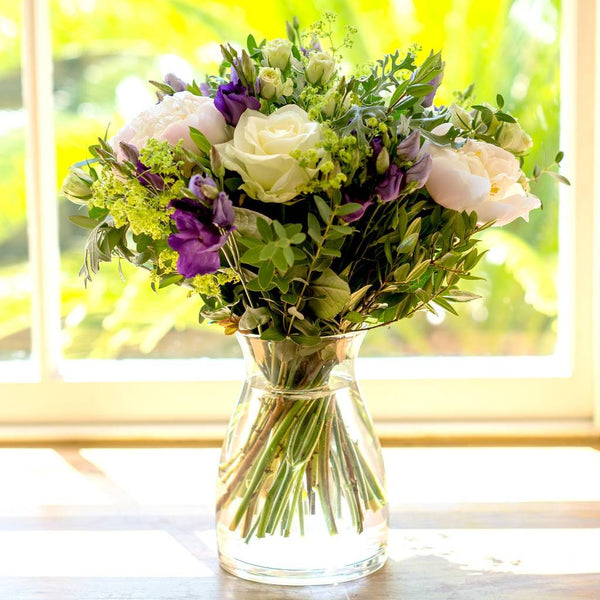 Diana - Cream Roses, Lilac Freesia Hand-tied Bouquet.
