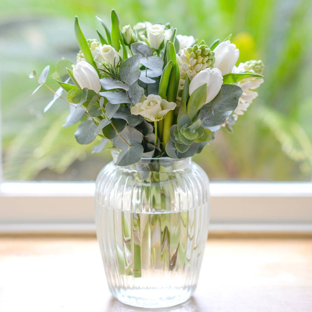 Seasonal Florists Selection of Cream and White Flowers Same Day Delivery