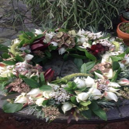 Appleshaw Cream and Lime Green Funeral Wreath