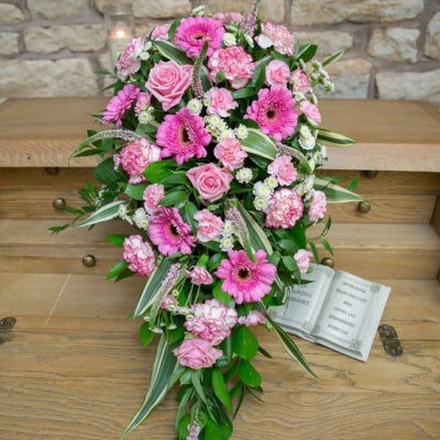Funeral Spray -  Pink Roses and Gerbera Daisies.