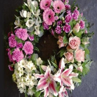 Funeral Wreath of Pink Roses and Lily with Freesia - Bokis Florists