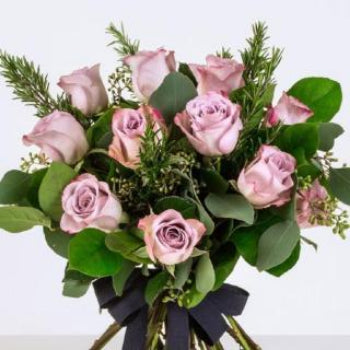 Gabriels - Twelve Long Stem Vintage Pink Roses Bouquet