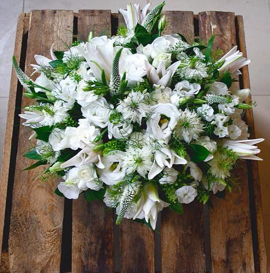Luxury Funeral Wreath or Posy  with White Lily
