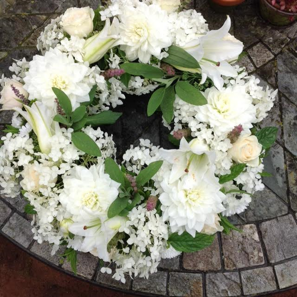 Candover White Lily and Roses Wreath