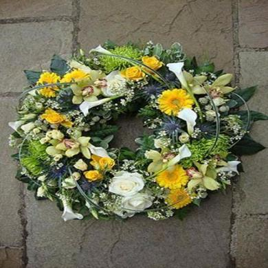 Esta - White Rose & Yellow Freesia Funeral Wreath.