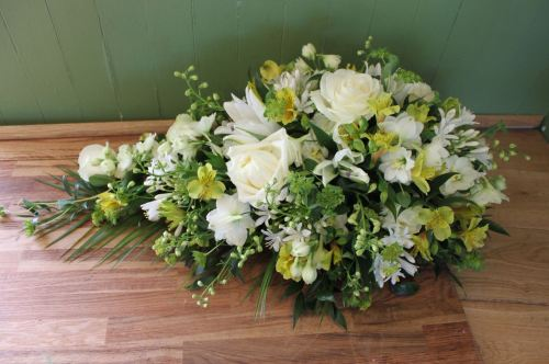 Henshaw - Funeral Spray - Yellow and White.