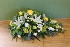 Funeral Spray - Yellow and White.
