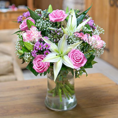 Dancer - Pinks and White Christmas Bouquet Bokis Florists Newbury