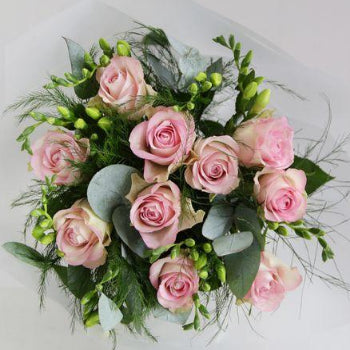 Donnington & Shaw, Newbury - Florist Delivery - Twelve Beautiful Pale Pink Roses and Freesia.