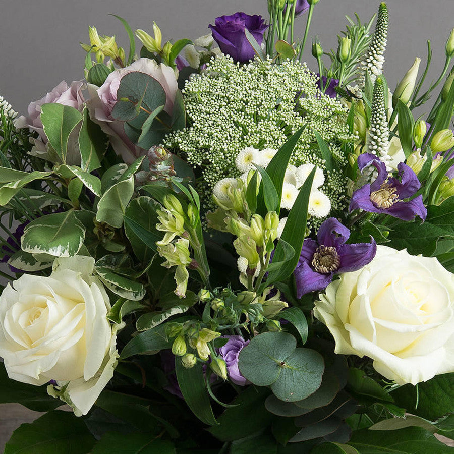 Hannah - Luxury Cream and Blue Bouquet with Avalanche Rose. Bokis Florists.