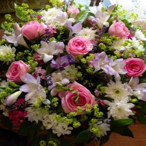 Funeral Posy of Pink Roses and Freesia Bokis Florist
