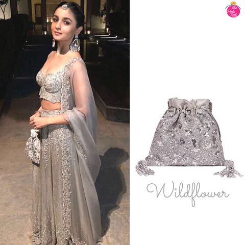 Alia Bhatt carrying The 'Wildflower' potli in silver for her best friends wedding