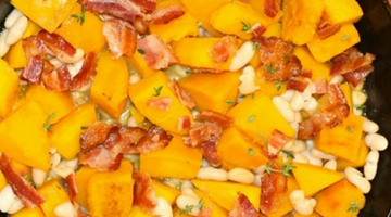 Pumpkin with White Bean Bacon