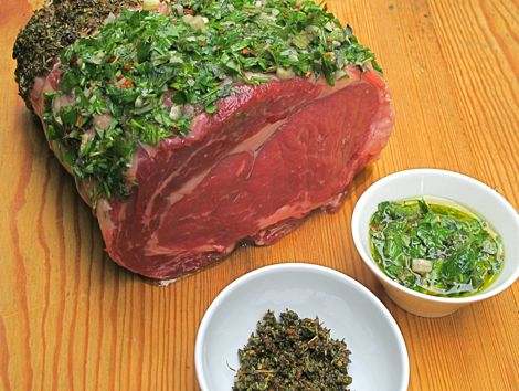 Höhrucken (Rib Eye) mit Chimichurri