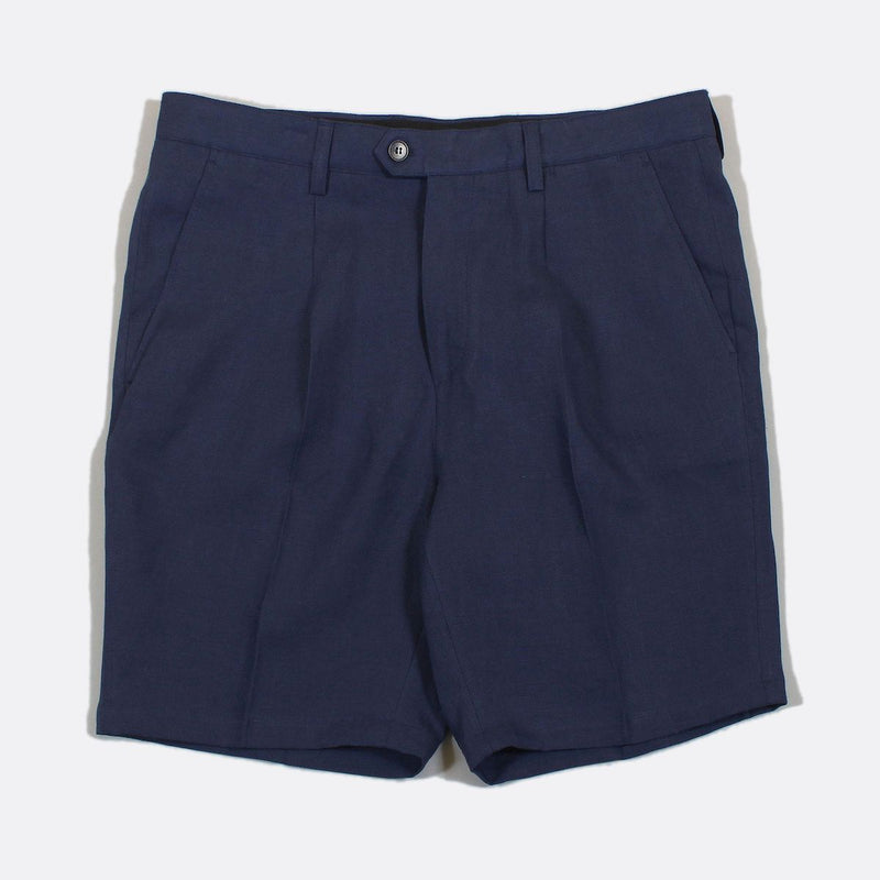 Far Afield Pleat Linen Short - Navy - Born Store