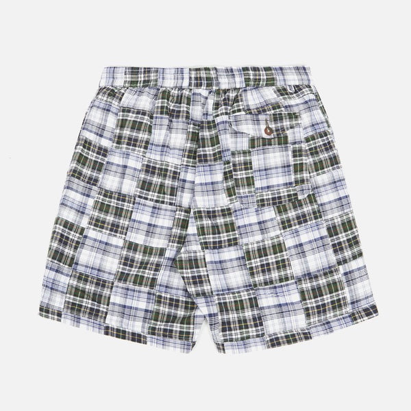 Universal Works Patchwork Madras Short - Blue - Born Store