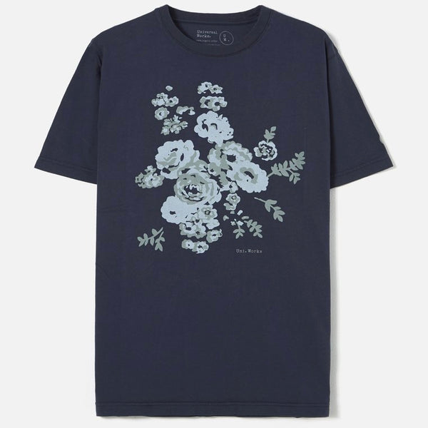 Universal Works Organic Flower Print Tee Shirt - Navy Flower - Born Store