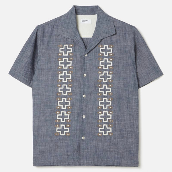Universal Works Open Collar Shirt - Indigo - Born Store