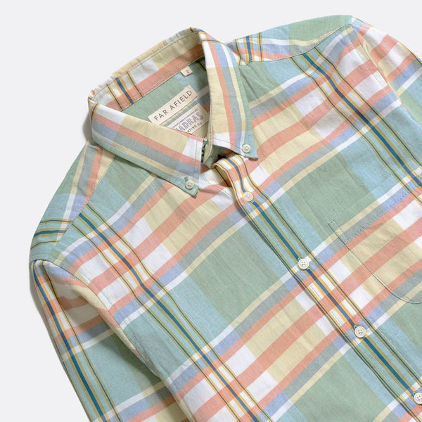 Far Afield x MSCo – Mod Button Down Short Sleeve Shirt - Doheny Check