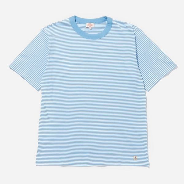 Armor Lux Heritage MOD Micro Stripe Tee Shirt - Light Blue