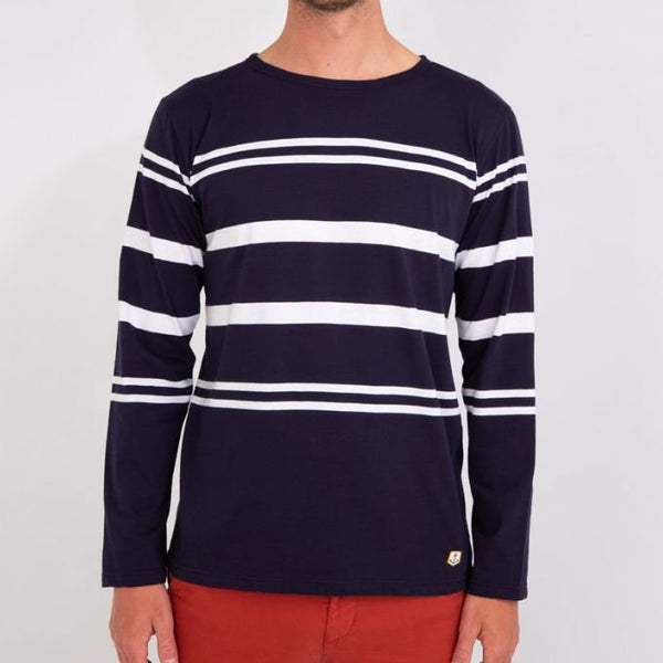 Armor Lux L/S Sailor Stripe Tee Shirt - Navy/White
