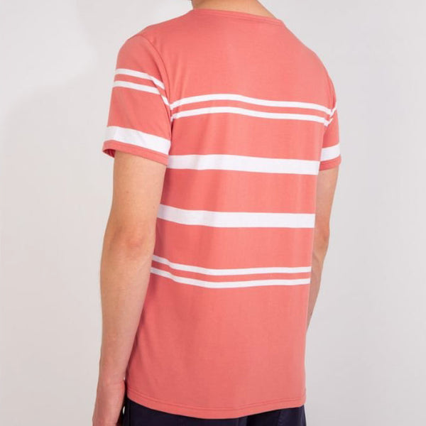 Armor Lux Striped Sailor Tee Shirt - Rosewood/White