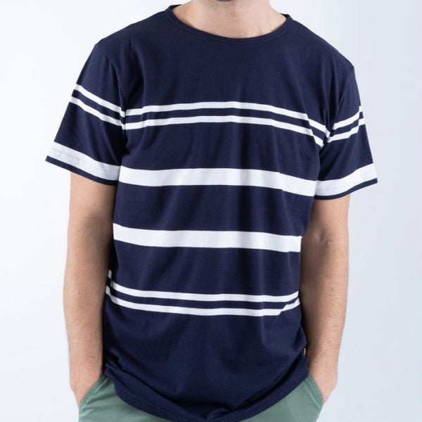 Armor Lux Striped Sailor Tee Shirt - Navy Blue/White