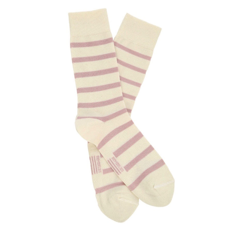 Armor Lux Striped Womans Socks - Natural/Pale Pink - Born Store