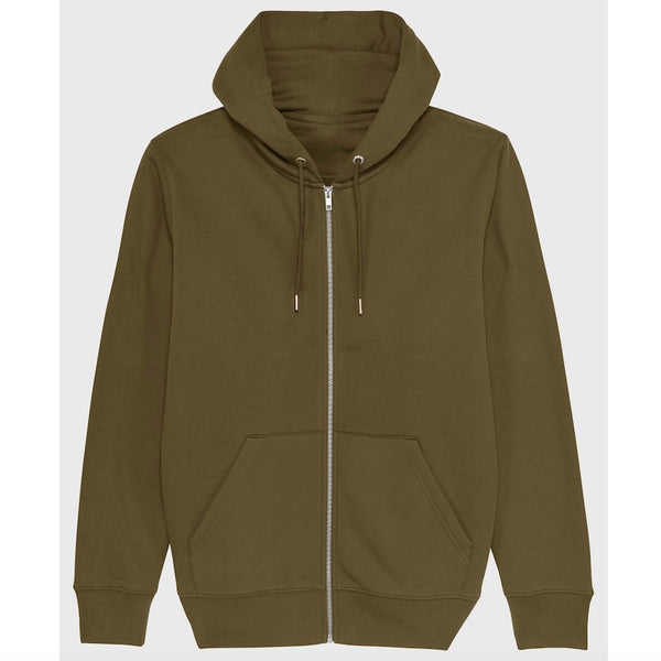 Born Essentials Organic Cotton Zip Hooded Sweat - Khaki Green