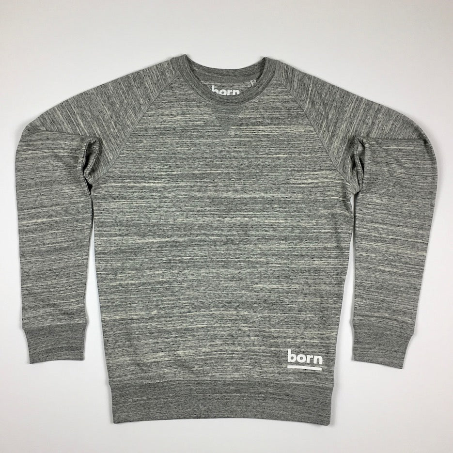 Born Essentials Organic Cotton Crew Sweat - Slub Heather Grey
