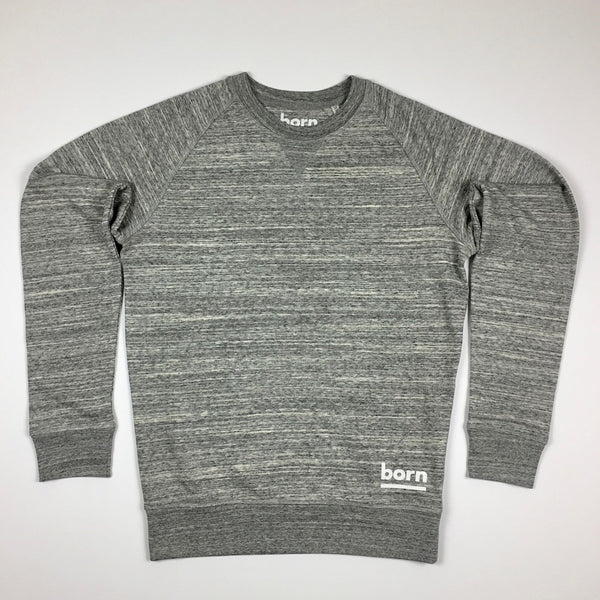 Born Essentials Organic Cotton Crew Sweat - Slub Heather Grey - Born Store