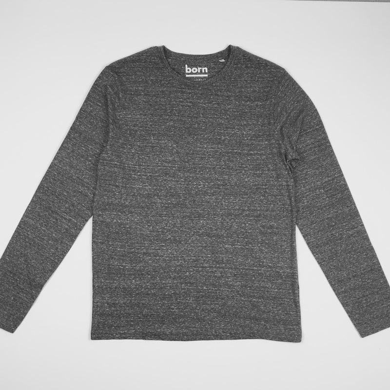 Born Essentials Organic Cotton L/S Tee Shirt - Club Heather Grey - Born Store