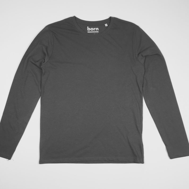 Born Essentials Organic Cotton L/S Tee Shirt - Grey - Born Store
